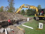 Here is an entire septic system and septic tank being replaced